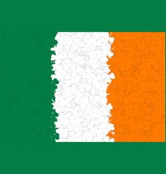 Ireland flag of many green white yellow shamrock vector