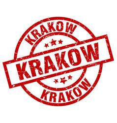 Krakow red round grunge stamp vector