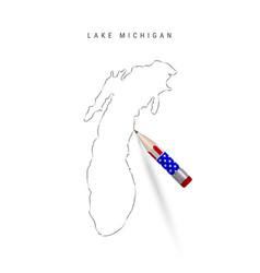 Lake michigan pencil sketch michigan vector