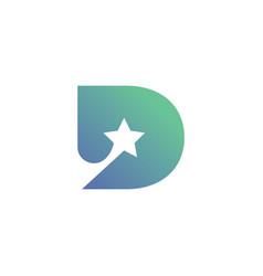 letter d with star symbol logo design vector image