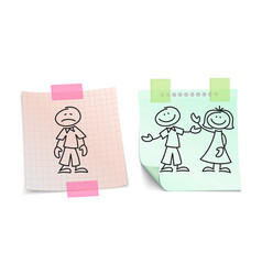 loneliness vs happy love on paper sheets vector image