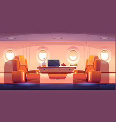 Luxury interior private jet with armchairs vector
