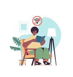 Man reading book digital detox offline activities vector
