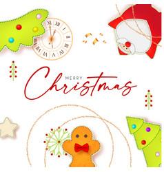 merry christmas cute design with santa claus fir vector image