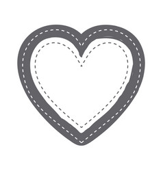 Monochrome silhouette heart shape with dotted vector