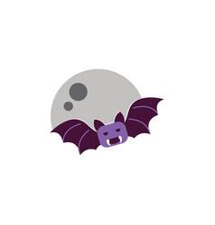 moon and bat trick or treat happy halloween vector image