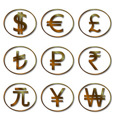 Most used currency symbols template for your vector