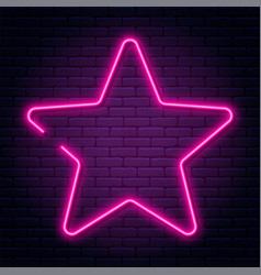 neon sign in star shape bright neon light vector image
