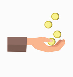 Outstretched hand and falling coins isolated on vector