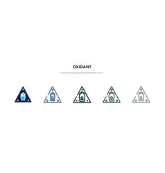Oxidant icon in different style two colored and vector