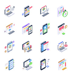 Pack user interface isometric icons vector