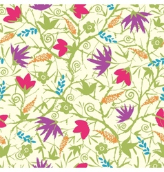 Painted blossoming branches seamless pattern vector