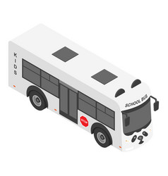 Panda school bus icon isometric style vector