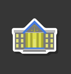 paper sticker on stylish background courthouse vector image