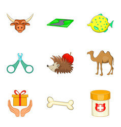 pet shop icons set cartoon style vector image