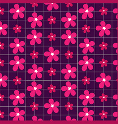 pink flowers on a purple background vector image
