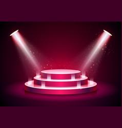 Podium on red background empty pedestal platform vector