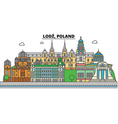 poland lodz city skyline architecture vector image