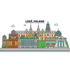 poland lodz city skyline architecture vector image