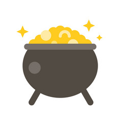 Pot gold feast saint patrick flat icon vector