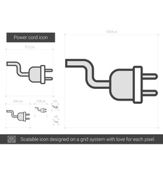 Power cord line icon vector