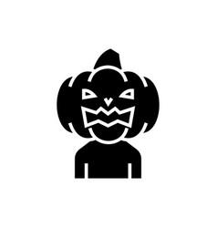 pumpkin horror icon black vector image