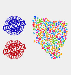 Puzzle hueska province map and grunge assembled vector