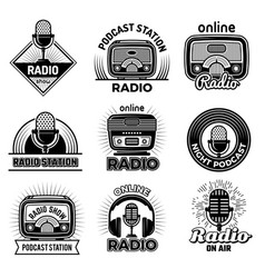radio badges music talking podcast air streaming vector image