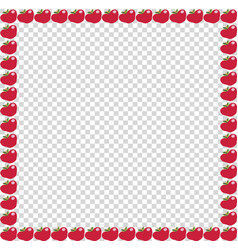 Red apple photo frameon transparent background vector