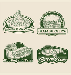 Retro hand drawing fast food badge set vector