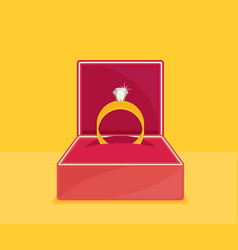 Ring with diamond or jewel in box vector