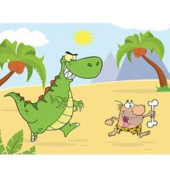 Royalty free rf clipart angry dinosaur chasing vector
