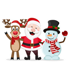 Santa claus snowman and deer stand in an embrace vector