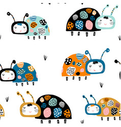 seamless childish pattern with funny lady birds vector image