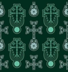 Seamless pattern with armenian symbol khachkar vector