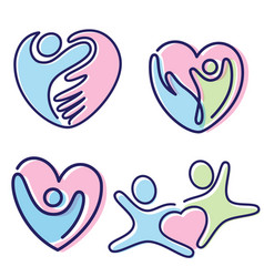 Set colorful pictogram people shaped heart vector