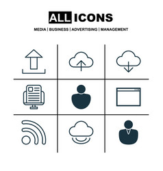 Set of 9 web icons includes data synchronize vector