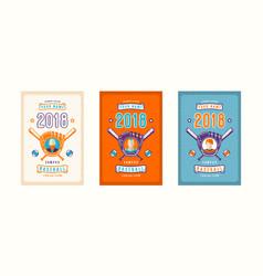 set of baseball card design vector image