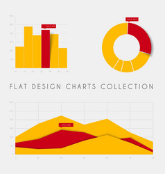 set of flat design statistics charts and graphs vector image