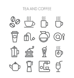 Set of simple icons for restaurant cafe coffee vector