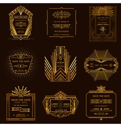 Set wedding invitation cards - art deco vintage vector
