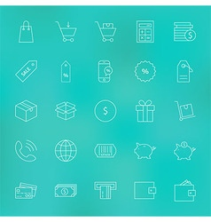 Shopping and Money Line Icons Set over Blurred vector image