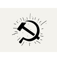 Silhouette of the hammer and sickle vector