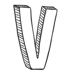 Single doodle sketch - the letter v vector