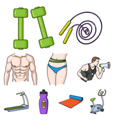 sport and fitness set icons in cartoon style big vector image