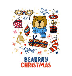 square chrismas greeting card design with bear vector image