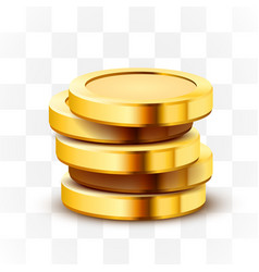 stack golden dollar coins isolated on vector image