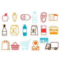 supermarket food selfservice and delivery icons vector image
