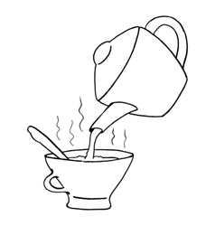 teapot with teacup vector image