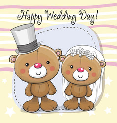 Teddy bride and teddy groom vector